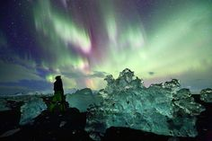Jokulsarlonfjara by James Appleton on 500px... Huge aurora burst over the beach near Jokulsarlon, Iceland..