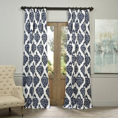 Simple yet sophisticated, this curtain panel provides the depth and beautiful sheen of classic silk drapes. This curtain panel features a contemporary vertical wave-like pattern that is flocked in a v