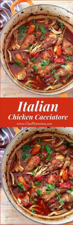 Italian Chicken Cacciatore Recipe ( Hunter Style Stew )   http://CiaoFlorentina.com @CiaoFlorentina