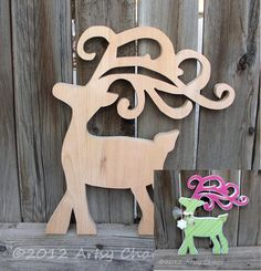 Unfinished Wood Fancy Reindeer for Christmas and Holiday Decor