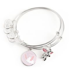 This elegant silvertone Dumbo bangle set by Alex and Ani will take your look to new heights. A baby pink enamel charm offers inspiration to stand out and soar in life, just like our beloved aerial elephant. Bangle Set, Bracelet Set, Bangle Bracelets With Charms, Pandora Bracelets, Pandora Charms, Sterling Silver Bracelets, Beaded Bracelets, Silver Rings, Wrap Bracelets