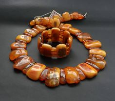 Baltic Amber Old Exclusive Handmade Huge Necklace & Bracelet. Total Weight ~ 204 g. 老琥珀 #ET0209 PRICE EUR 1,249.00