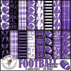 INSTANT DOWNLOAD Football Purple set 1 Digital by IrrationalArts