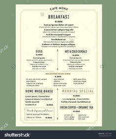 Menu Design For Breakfast Restaurant Cafe Graphic Design Template . Carta Restaurant, Restaurant Menu Template, Restaurant Menu Design, Breakfast Restaurants, Breakfast Menu, Brunch Menu, Cafe Menu Design, Food Menu Design, Cafeteria Menu