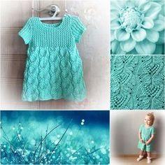 Платье «Бирюзовый сон» на 1-2 года (Вязание спицами) | Журнал Вдохновение Рукодельницы