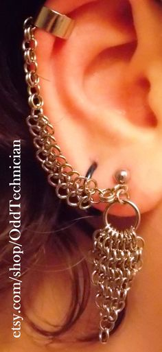 Chainmail Ear Cuff  Silver Copper or Brass by OddTechnician, $18.00