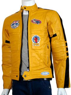 Men Yellow Motorcycle Kill Bill Leather Jacket
