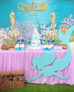 Life is The Bubbles Under The Sea! Mermaid Birthday Party Decorations Diy, Mermaid Theme Birthday, Little Mermaid Birthday, Little Mermaid Parties, Birthday Party Themes, Rusalka, Under The Sea Party, Shower, Mermaids