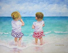 #Beach #Ocean #Seashore #Painting #Girl #Sister #Friend #Watercolor #Art #Print #Twin #Child #Children #Kids #Youngster #Vacation #Decor #Reproduction Copyright © 2013 by Barbara Rosenzweig matted art print 16x20 $48 Free Shipping US, other sizes available Etsy.