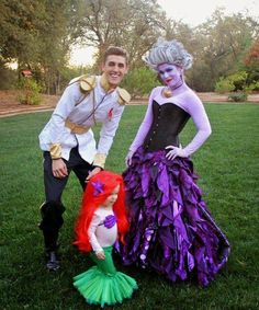 Our Halloween was brought to you this year by Disney's The Little Mermaid ! :) Since I worked so hard on my Ursula costume, I naturall. Mermaid Halloween Costumes, Fete Halloween, Disney Halloween, Baby Halloween, Ursula Costume Diy, Homemade Halloween, Halloween 2016, Funny Halloween, Disney Family Costumes