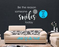 Be the reason someone smiles today Wall Decal Buddha Quote Sticker Art Decor Bedroom Design Mural peace art be happy think happy by StateOfTheWall on Etsy https://www.etsy.com/listing/559151749/be-the-reason-someone-smiles-today-wall