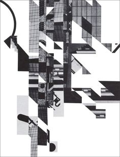 Fracturing and Displacement of Form: Daniel Libeskind's Early Collage Drawings Chinese Architecture, Space Architecture, Architecture Drawings, Futuristic Architecture, School Architecture, Daniel Libeskind, Le Corbusier, Collage Drawing, Collage Art