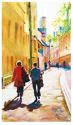 """Walking in Oxford by Graham Berry  ~ 19"""" x 11"""""""