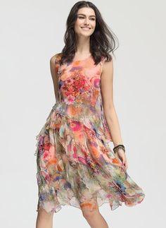 Vestidos Seda Floral Hasta las rodillas Sin mangas (1027417) @ floryday.com
