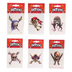 TAT12 - Tatuaggio Temporaneo Pirata & Scheletro | Puckator IT #partybag #kid #idee #compleanno #bambino