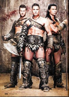 Agron, Crixus, Barca: My absolute favorite gladiators. Liam Mcintyre, Manu Bennett, Spartacus Tv Series, Spartacus Blood And Sand, Gods Of The Arena, Greek Men, Hbo Series, Good Looking Men, Favorite Tv Shows