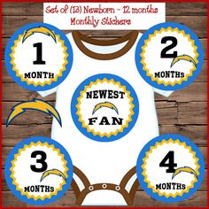 San Go Chargers Football Baby Monthly By Bryansstickershack