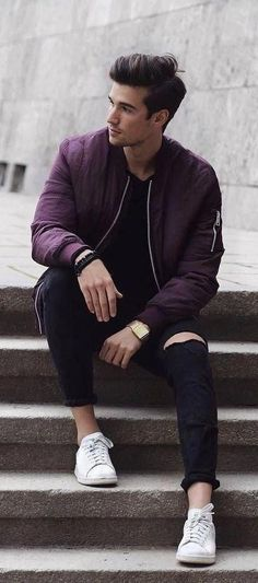 Fall streetwear combo with a maroon shaded bomber jacket black ripped denim black shirt wrist accessories watch no show socks white sneakers Fashion Photography Poses, Photography Poses For Men, Best Poses For Men, Mens Poses, Guy Poses, Mens Photoshoot Poses, Photo Poses For Boy, Der Gentleman, Outfits Hombre