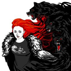 she-wolf by spacefeels I got so inspired and feelsy for Sansa this season I drew her to go with my other murderous black-and-red Stark kids