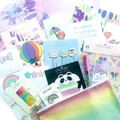 Villabeautifful x Whimsical Cat Studios collab planner kit. Themed around rainbow kawaii cuteness. Kawaii Cute, Sticky Notes, Whimsical, Paper Crafts, Rainbow, Kit, Stickers, Studios, Crafting