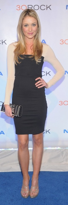 Who made Katrina Bowden's black and nude long sleeve dress that she wore in New York on December 20, 2012?