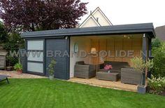 Tuinhuis Moderne berging plat 300 x 300 schuifdeur luifel 300 ()