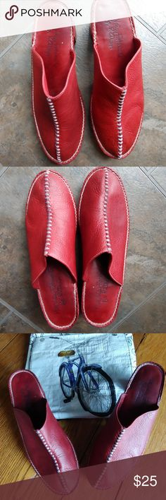 "Mill Valley pebbled leather mules platforms Great red leather 3"" heeled mules.  These are gently used so a few imperfections but minor mill valley footwear Shoes Mules & Clogs"