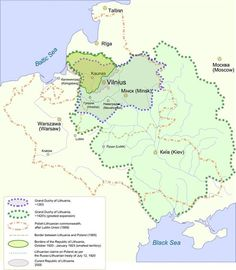 Lithuanian History Map  13th century (during the reign of Mindaugas)  15th century (during the reign of Vytautas the Great)  Polish–Lithuanian Commonwealth and border between its parts  Border of 1923 (the area of Vilnius being a part of Poland)  Modern Republic of Lithuania  Source: https://commons.wikimedia.org/wiki/File:LithuaniaHistory.png