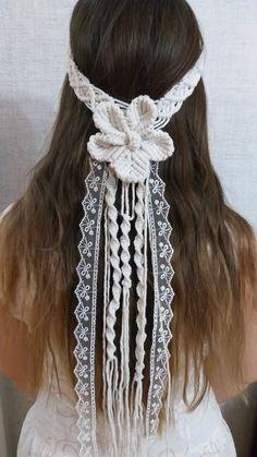 Bohemian Beach Wedding, Boho, Macrame Headband, Hippie Headbands, Festival Wedding, Macrame Patterns, Cotton Rope, Bridal Headpieces, Veil