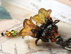 Lucite Earrings, Flower Earrings, 'Tuscany Garden', Victorian Earrings, Boho Earrings, Drop Earrings, Filigree Bronze, Hand Painted