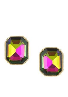 Laundry By Shelli Segal Women Gold-Tone Emerald Cut Stud Earrings - Tourmaline - One Size
