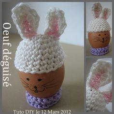 Une idée amusante découverte sur le blog anglophone de Jessica alias (Mommy) Creations, chapeauter un oeuf pour une déco éphémère... pour sa dinette... pour rire... pour vos convives... A vous de choisir ! Free Pattern : Easter Bunny Egg Hat here Many...