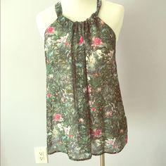 Green multi halter Dark green floral jungle printed chiffon halter Cami H&M Tops Camisoles