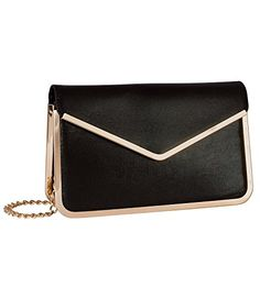 """SIX """"Party"""" schwarze Damen Abendtasche Pochette Clutch mit goldenen Rändern und Kettenriemen (427-221)"""
