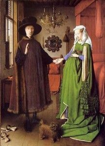 Jan Van Eyck The Arnolfini Portrait, , National Gallery, London. Read more about the symbolism and interpretation of The Arnolfini Portrait by Jan Van Eyck. Arnolfini Portrait, Michael Angelo, Renaissance Kunst, Renaissance Paintings, Italian Renaissance, Portrait Renaissance, National Gallery, Late Middle Ages, Art Sculpture