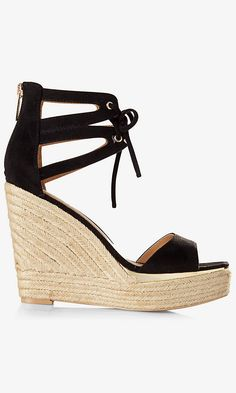 Espadrilles come into the now with fresh faux suede and a height-enhancing platform wedge heel. This chic, ankle-lace sandal is destined for some dates with your flares and maxis.