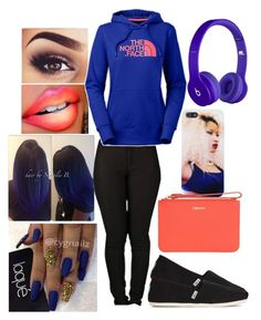 """""""Untitled #803"""" by bumm-chix ❤ liked on Polyvore featuring moda, TOMS, Beats by Dr. Dre, The North Face ve DKNY"""