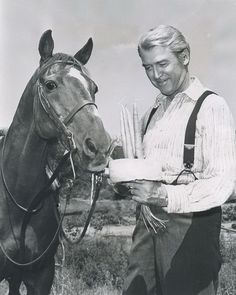 Jimmy Stewart and Pie, the horse he rode for 22 years