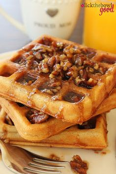 waffles of insane greatness from food network and butter pecan syrup recipe YUM Butter Pecan Syrup, Breakfast Desayunos, Breakfast Dishes, Breakfast Recipes, Mexican Breakfast, Pancake Recipes, Breakfast Sandwiches, Gastronomia, Pancake
