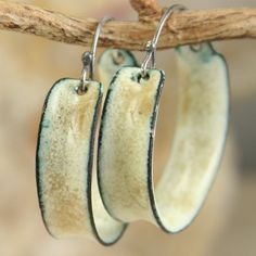 Enameled Hoop Earrings Old Ivory Color Copper Enamel Distressed Aged Color
