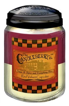 Red Velvet Cupcake 26 oz. Jar Candle. A powerful mix of powdered sugar, cream cheese frosting, marshmallow, cake batter, vanilla sugar, buttercream, creamy custard, cocoa powder and vanilla bean! Find it at Hayman Jewelry Co.