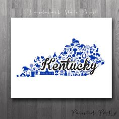 Lexington Kentucky Landmark State Giclée Print 8x10 by PaintedPost, $15.00 #paintedpoststudio - University of Kentucky - Wildcats - Custom Kentucky Print- What a great and memorable gift for graduation, sorority, hostess, and best friend gifts! Also perfect for dorm decor! :)