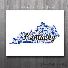 Lexington Kentucky Landmark State Giclée Print 8x10 by PaintedPost, $15.00 #paintedpoststudio - University of Kentucky - Wildcats - Custom Kentucky Print- What a great and memorable gift for graduation, sorority, hostess, and best friend gifts! Also perfect for dorm decor! :)