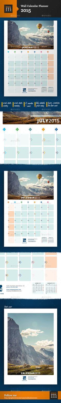 Wall Calendar Planner 2015 #graphicriver #template #design #calendar2015 #calendar #planner #stationery