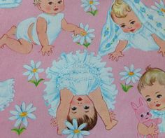 Vintage baby girl wrapping paper / gift wrap.