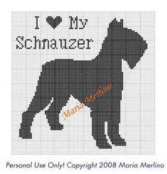 I Love My Schnauzer Crochet Graph or Chart! Cross Stitch Charts, Cross Stitch Embroidery, Cross Stitch Patterns, Dog Chart, Fillet Crochet, Charts And Graphs, Dog Pattern, Cross Stitch Animals, Blanket Stitch