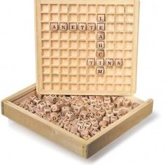 Use this gorgeous wooden box and frame to make up words, learn spelling or play boggle. Creating Words Game comes with 145 wooden letters How To Spell Words, Learn To Spell, Create Words, Wooden Educational Toys, Godly Play, Made Up Words, Word Board, Wooden Cubes, Boggle