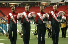 Santa Clara Vanguard is one of the only drum corps left to have cymbals in the drum line.  The precision these guys have is incredible.
