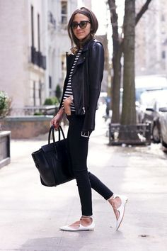 Le Fashion Blog Arielle Sunglasses Leather Jacket Striped Tee Skinny Jeans Celine Bag Aquazzura White Lace Up Flats Via Something Navy 2