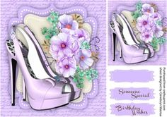 Beautiful Shoes and Roses on a lilac script Mat  2  on Craftsuprint - View Now!